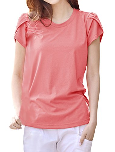 Femme Col Rond Pétale Manches Pull-over T-Shirts décontractés Rose