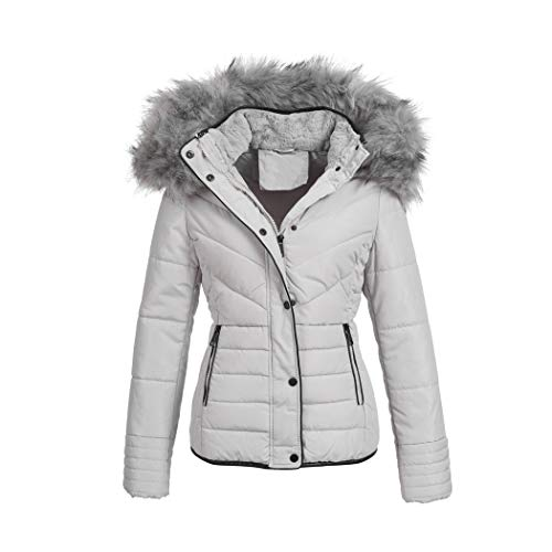 Elara Damen Winterjacke | Designer Steppjacke | Gefütterte Outdoor Damenjacke | Chunkyrayan OS-D116 Grey 36/S
