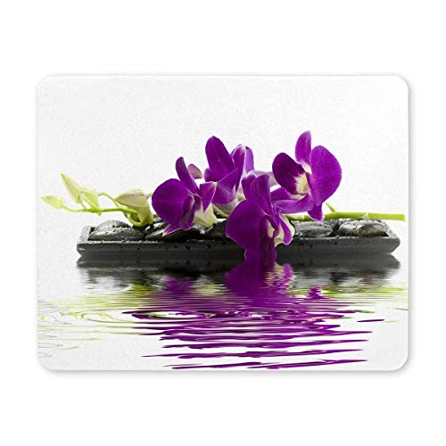 Gaming Mouse Pad, Maus - Pads Lila orchideen auf der Massage - Stein - Mousepad Lustig