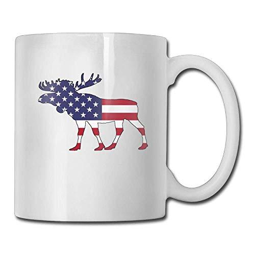Coffee Mug Unique Birthday Moose - American Flag Ceramic Tea Cup