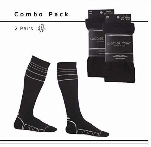 Kompressionsstrümpfe (2 Paar in Größe L/XL) für Damen & Herren von Cascade Point™ – ideale Stützstrümpfe mit Kompression für Sport & Flug, als Laufsocken & medizinische Kompressionssocken