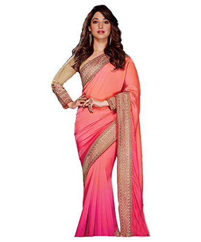 Tamanna Bhatia Pink & Peach Georgette Designer Saree  available at amazon for Rs.1650