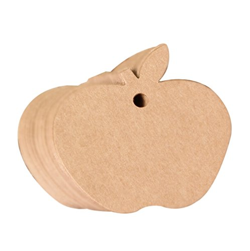 Gespout Hängeetiketten Apfel Papieranhänger Geschenkanhänger Papier Karte Kleidung Etikett Tags Anhängeschilder Leeres für DIY Deko Markierung und Party 100 pcs,6 x 6cm(Khaki)