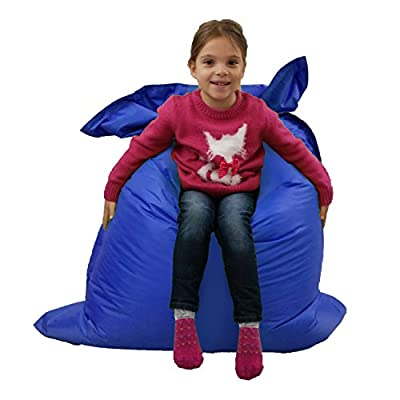 Kids BeanBag Large 6-Way Garden Lounger - GIANT Childrens Bean Bags Outdoor Floor Cushion BLUE - 100% Water Resistant