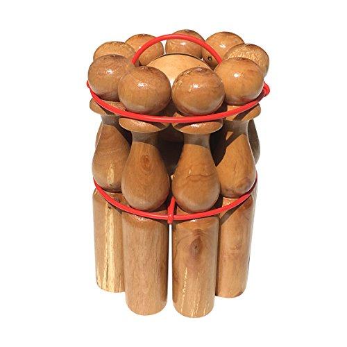 GICO Kegelspiel Kegel Set Bowling aus Holz für Kinder und Erwachsene – Massivholz 24 cm holztypischer Maserung – 3018e