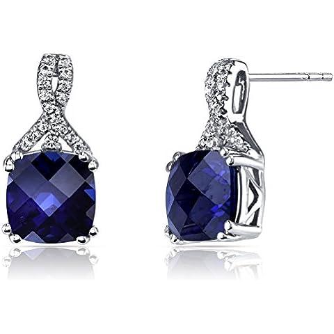 Revoni 14ct Oro Blanco Creado Sapphire Pendientes Diseño Cojín Corte 6,00quilates