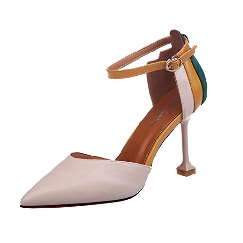 db3dd627bbf Women s Heels OverDose Fashion Thin Heels Shoes Patchwork Ankle Strap High Heels  Shoes