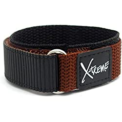 X-treme Tough Sports Watch Strap Band Men's Hook and Loop Rip Tab Fastening 20mm - Brown