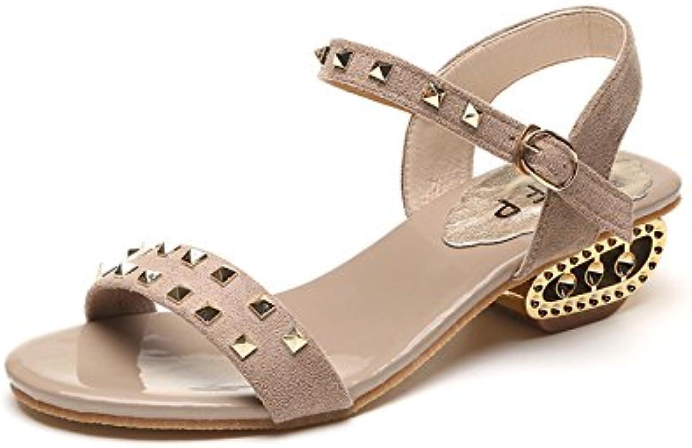 Fashion Low y Liu Ding Summer Square Sandalias para mujer con hebilla Sandalias para dama, color albaricoque,...