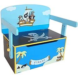 Baúl de piratas para juguetes + Banco y Mesa + Silla.