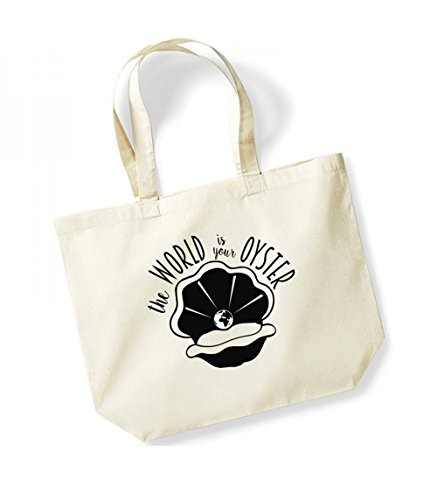 The World Is Your Oyster - Large Canvas Fun Slogan Tote Bag Natural/Black