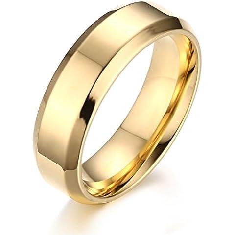 Anello a fascia in acciaio INOX, a tinta unita, da uomo e da donna, da fidanzamento, da matrimonio Promise, larghezza 6 mm, colore: oro - Ametista Promise Ring