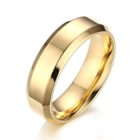 Vnox Bague plaqué or en acier inoxydable pour les femmes d'hommes Promesse d'engagement de mariage,6mm de largeur,or - Ametista Promise Ring