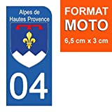 DECO-IDEES 1 Sticker pour Plaque d'immatriculation Moto, 04 Alpes DE Hautes Provence - Stickers Garanti 5 Ans - Nos Stickers sont recouvert d'un pelliculage de Protection spécifique