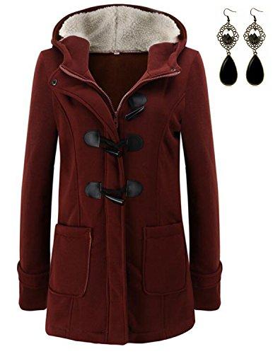 M-Queen Femme Manteaux à Capuche Gilet Bouton épais Blouson Hiver Hoodie Veste Jacket Casual Outwear Coat Fleece Manteau-Rouge-mince velours-4XL
