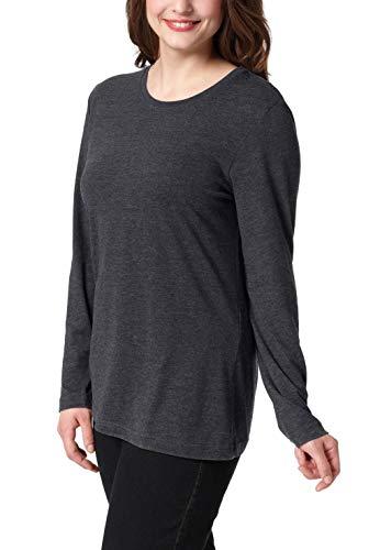 Ulla Popken Große Größen Damen Basic Langarmshirt Rundhals Grau (Anthrazit 12), 48 (Herstellergröße: 46+)