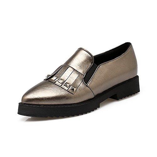 AgooLar Damen Eingelegt Weiches Material Niedriger Absatz Spitz Zehe Pumps Schuhe Silber