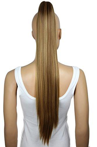 PRETTYSHOP Clip de en las extensiones postizos extensiones de cabello pelo liso largo hechos de fibras sintéticas resistentes al calor 70 cm marrón rubio mezcla # 6H27 H165