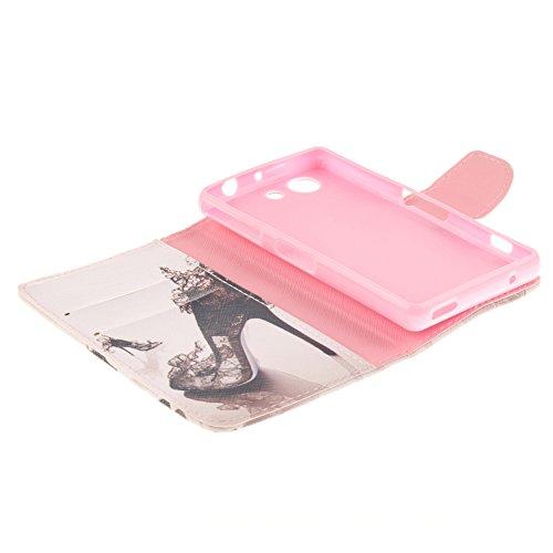 Sony Xperia Z3 Compact/Z3 Mini Hülle,MCHSHOP PU Leder Cover Tasche Soft Case Schutz Hülle Handyhülle Bunt Painted Silikon Back Cover Bumper Schutz Hard Etui Schale Schutzhüllen mit Stand Magnetverschl Schöne Schuhe mit hohen Absätzen