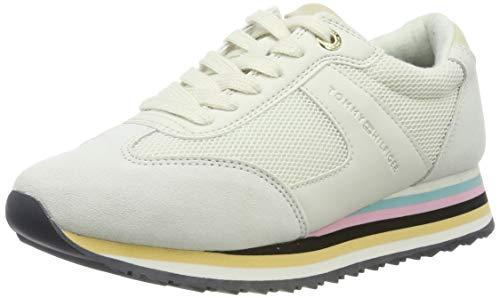 Tommy Hilfiger Tommy Stripe Retro Sneaker, Scarpe da Ginnastica Basse Donna, Bianco (off White 156), 42 EU