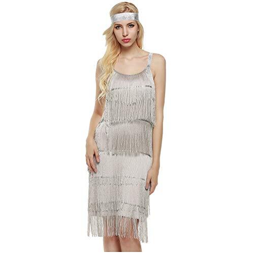 keland Damen-Cocktailkleid mit Fransen und Riemen fügt die Kleidung in EIN ärmelloses Kleid mit knielangem Stirnband EIN (Silber, XL)
