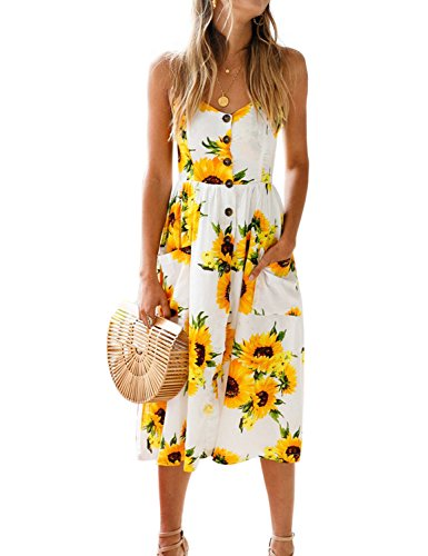 BMJL Women's Dresses V Neck Floral Print Strappy A Line Ladies Sleeveless Cocktail Party Beach Summer Holiday Sun Dress