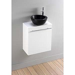 Pack Meuble lave mains Florence blanc avec lave main noir design
