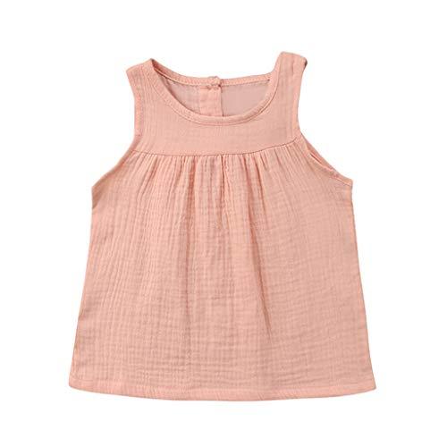 JUTOO Kleinkind-Baby-Kind-Mädchen-Sleeveless Normallack-Geraffte Weste übersteigt beiläufige Kleidung (Rosa,110) (Kinder Rabatt Boutique Kleidung)
