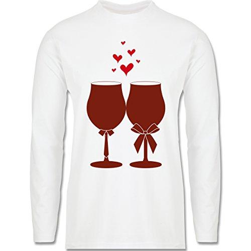 Symbole - Weingläser Wein - Longsleeve / langärmeliges T-Shirt für Herren Weiß