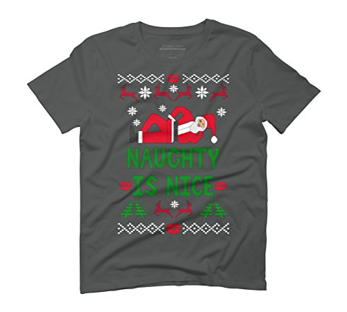 Naughty Santa Men's Graphic T-Shirt - Design By Humans Anthracite