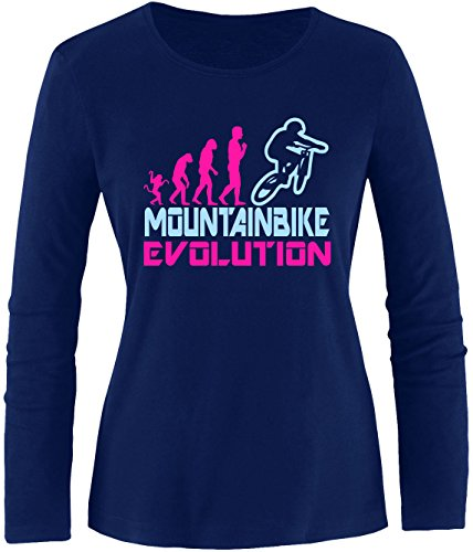 EZYshirt® Mountainbike Evolution Damen Longsleeve Navy/Pink/Hellbl