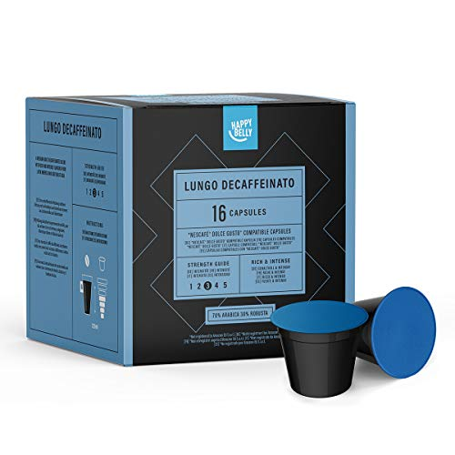 Amazon-Marke: Happy Belly  Lungo Decaffeinato Kaffeekapseln (entkoffeiniert) kompatibel mit...