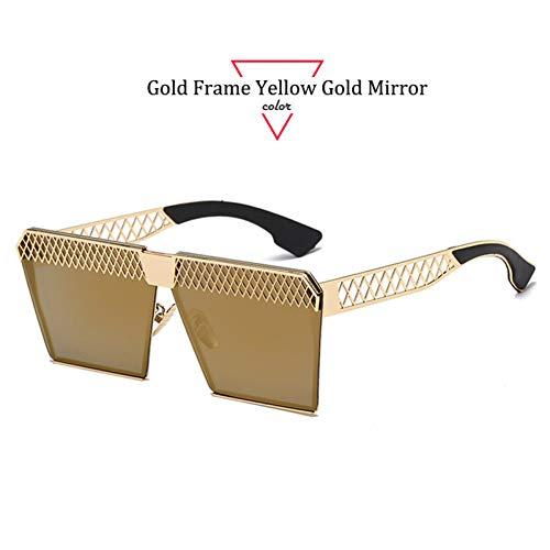 Kjwsbb Farbquadrat-Sonnenbrille-Frauen-Sonnenbrille-einzigartige Hohle übergroße Augen-Rahmen-Weinlese-Steigungs-Sonnenbrille-Frauen