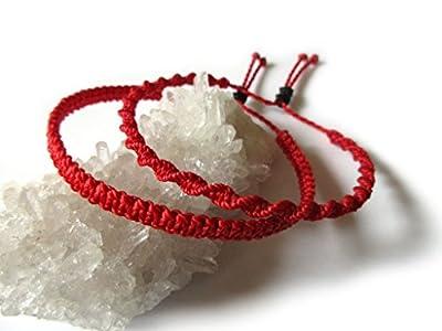 X2 Bracelets brésiliens en fil tissage fin plat et rond spirale rouge tissés/tressés main en macramé avec du fil ciré. Amitié/Duo/Bohème/Unisexe/Surf/Bijoux/Kabbalah Réf.PP+PS233