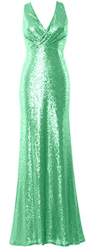 MACloth Women V Neck Sequin Long Bridesmaid Dress 2017 Wedding Party Formal Gown Menthe