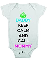 t-shirteria–Body: Keep calm and call Mommy, tamaños, de 3a 24Meses Blanco blanco Talla:large
