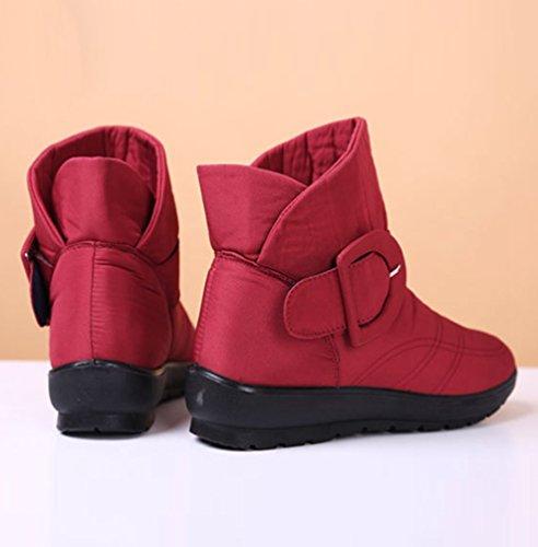Yiiquan Femmes Flats Chaussures Bottes Chauds Bottes Fourrures Bottes De Neige D'hiver Étanche Rouge