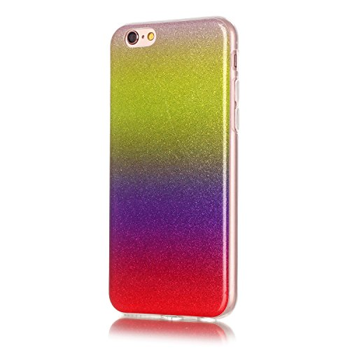"OuDu iPhone 6 PLUS/6S PLUS (5.5"") Hülle, Glitzern Funkeln Hülle TPU Silicone Etui für iPhone 6 PLUS/6S PLUS (5.5"") Bling Glitter Case Sparkle Style Cover Soft Lightweight Bumper Flexible Schlanke Scha Gelb & Rot"
