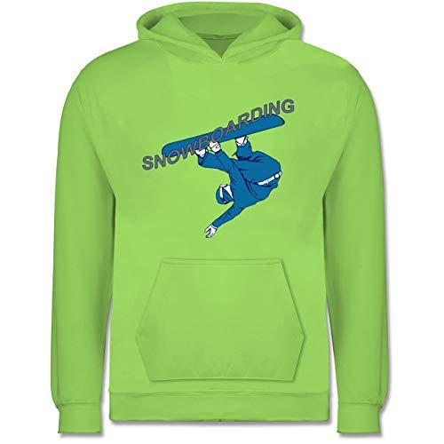 Sport Kind - Snowboarding - 7-8 Jahre (128) - Limonengrün - JH001K - Kinder Hoodie