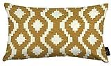 McAlister Textiles - Aztec Kollektion | Rechteckiges Zierkissen im Geometrischen Arizona-Muster mit Füllung | 50cm x 30cm in Ockergelb | Deko Kissen für Sofa, Bett, Couch Jacquard Chenille