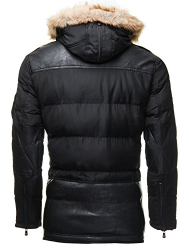 Geographical Norway Herren Parka Winter-Jacke Kapuze Lang Zipper Schwarz Khaki Navy Bendorf Schwarz