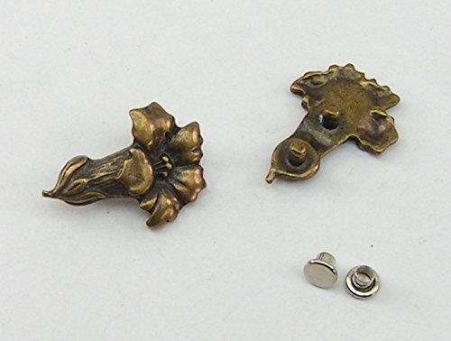 2 Enzianblüten Metall Applikationen Zierteile Trachten 05.33/368