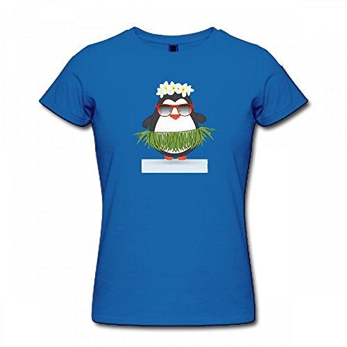 qingdaodeyangguo T Shirt For Women - Design Funny Hula Hawaiian Penguin Tropical Summer Shirt blue