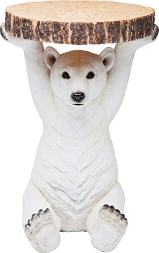 Kare Design Table d'appoint Animal Polar Bear, Ø37cm, petite table basse ronde, aspect bois, figurine animalière comme table de salon insolite, (H / W / D) 53x37x37cm