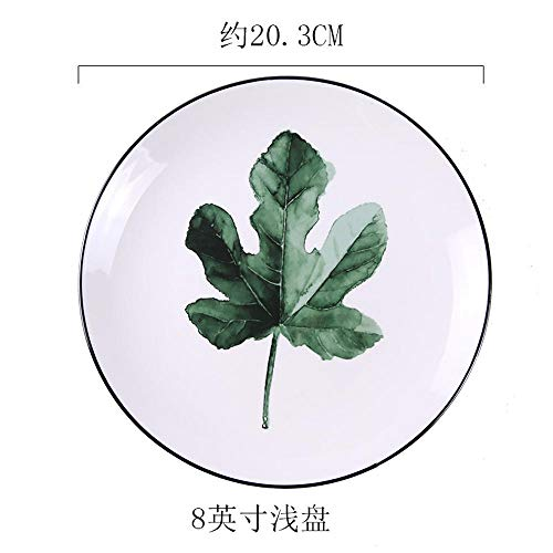 Maple Leaf Dish (Chinesische Keramikteller, Steakteller, Weiß Maple Leaf 8-inch Shallow Dish)