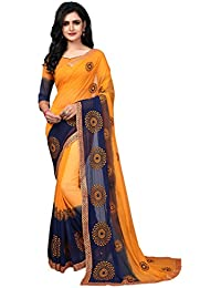 Fab Valley Georgette Fabric Embroidery Work Designer Saree For Women