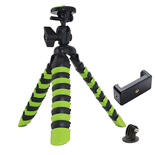 Kamera Dreibein-Stative 3in1 Ministativ Flexibel Leicht Stative Universal Octopus Gorillapod Dreibein-Stative Ständer für DLSR Kamera/Camcorder +Phone handy +Action Kamera Tripod (Grün mit schwarz)