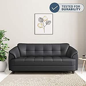 Amazon Brand - Solimo Newport Leatherette 3 Seater Sofa (Black)