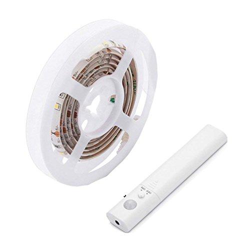 LiZhi Bewegung aktiviert Bett Licht,Doppelmodus-Bewegungs-Nachtlicht, 4000K 3.28ft flexibler LED-Streifen für Schrank-Schlafzimmer-Küche (4AAA Batterien betrieben, nicht eingeschlossen) (Neutralweiß) (Motion-sensing-licht-schalter)