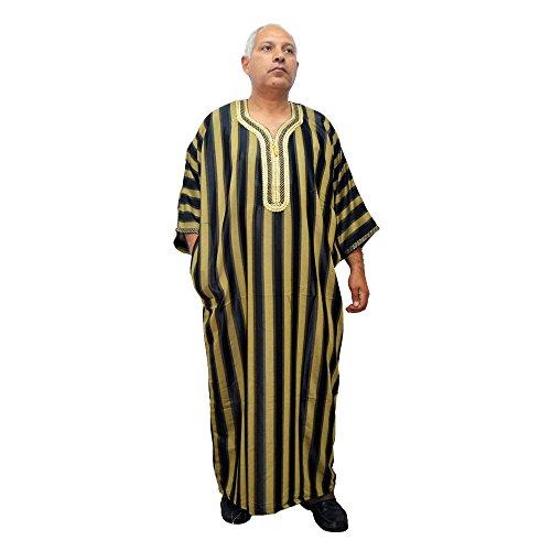 Horus Artesanía de Egipto Chilaba, djelaba, caftán árabe de Marruecos para hombre, es de satén y algodón muy amplio y cómodo. Mide de ancho 80 cm y largo 143 cm aproximadamente